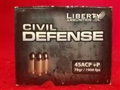 Liberty Civil Defense 45acp +P 78gr Ammo - 20rd - 1900fps